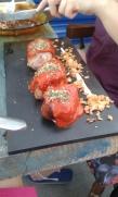 Pez Tomillo, stuffed chicken rolls